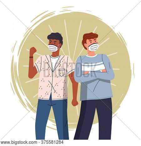 Two Multinational Guys Wearing Face Medical Masks Crossed Hands At Chest And Show Fight Gesture Colo