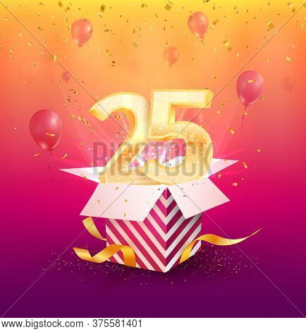 25 Years Anniversary Vector Banner Template. Twenty-five Years Jubilee With Balloons And Confetti On