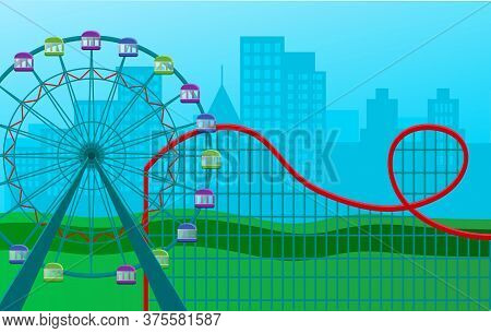 Ferris Wheel With Colored Cabins And A Roller Coaster Ride Amid Large City Buildings, Attraction In