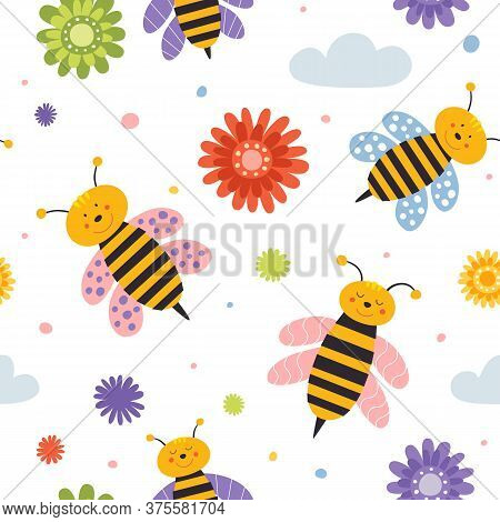 Seamless Pattern With Cartoon Bees On A Light Isolated Background. Wasps Fly Among The Flowers Vecto
