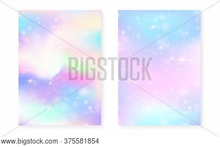 Unicorn Background With Kawaii Magic Gradient. Princess Rainbow Hologram. Holographic Fairy Set. Tre