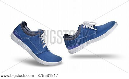 Stylish Casual Blue Suede Shoes Walking Forward, Isolated On White Background, Lifestyle Concept