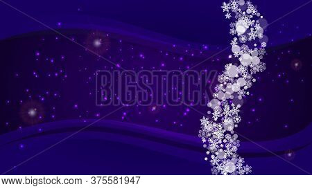 Xmas Sales With Ultra Violet Snowflakes. New Year Backdrop. Snow Frame For Flyer, Gift Card, Party I