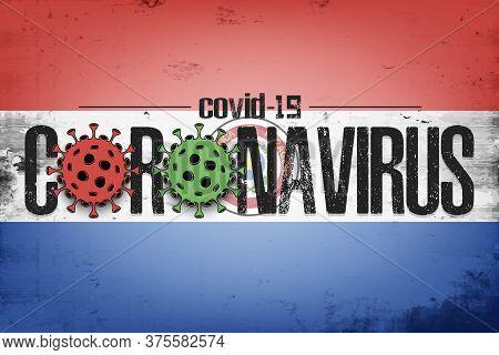 Flag Of Paraguay With Coronavirus Covid-19. Virus Cells Coronavirus Bacteriums Against Background Of