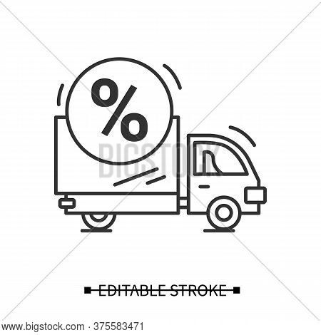 Delivery Icon. Shop Truck With Sale Percent Linear Pictogram. Order Transportation Service And House