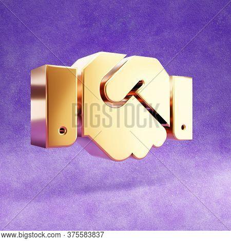 Shake Hands Icon. Gold Glossy Shake Hands Symbol Isolated On Violet Velvet Background. Modern Icon F