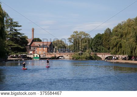 People Kayaking On The River Avon In Stratford Upon Avon In Warwickshire In The Uk Taken On The 22nd