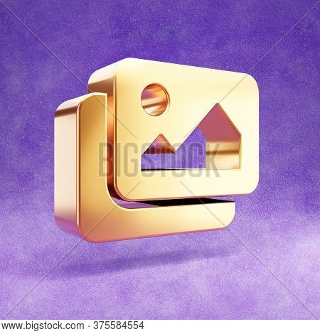 Images Icon. Gold Glossy Images Symbol Isolated On Violet Velvet Background. Modern Icon For Website