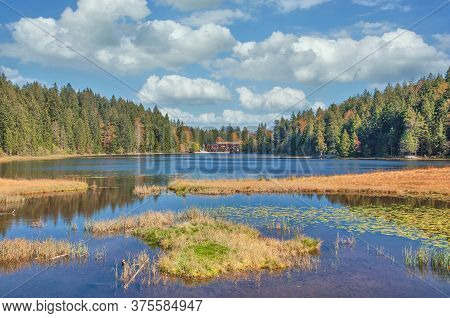 Lake Grosser Arbersee In Bavarian Forest Near Bodenmais,bavaria,germany