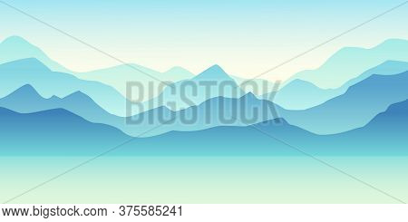 Nature Vector Background, Landscape With Mountains And Sun. Panorama Of Mountains, Valley On Sunset