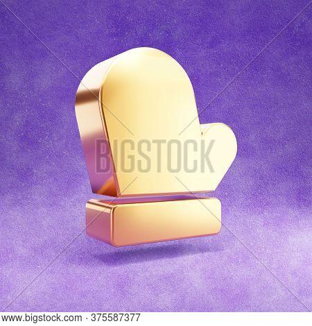 Mitten Icon. Gold Glossy Mitten Symbol Isolated On Violet Velvet Background. Modern Icon For Website