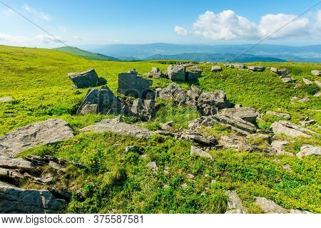 Mountain Landscape. White Sharp Stones On The Hillside In Morning Dappled Light