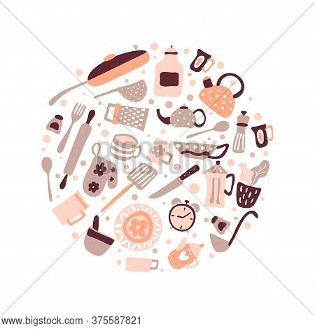 Vector Greeting Card Frame With Copyspace For Food Blog Kitchen In The Shape Of Round. Cute Design C