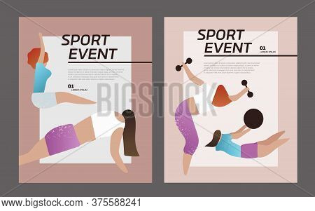 Collection Of Women Performing Various Sports Activities. Vector Illustration For Poster, Postcard.