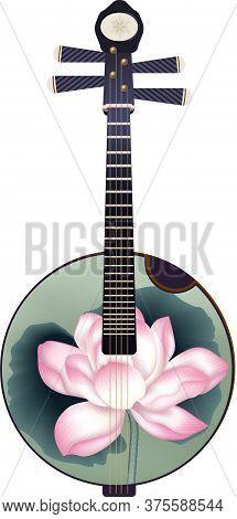 Chinese Instrument Lute Vector Illustration, Yuan, Pipa, Da Yuan, Lotus Pattern, Four String Instrum