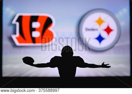 Cincinnati Bengals Vs. Pittsburgh Steelers. Nfl Game. American Football League Match. Silhouette Of