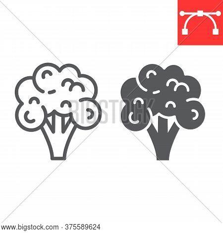 Broccoli Line And Glyph Icon, Food And Keto Diet, Broccoli Sign Vector Graphics, Editable Stroke Lin
