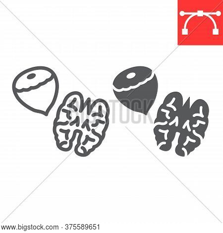 Nuts Line And Glyph Icon, Hazelnut And Keto Diet, Walnut Sign Vector Graphics, Editable Stroke Linea