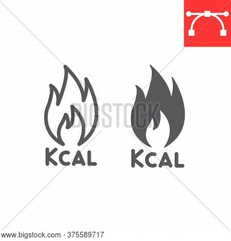 Calories Burn Line And Glyph Icon, Fitness And Keto Diet, Fire Sign Vector Graphics, Editable Stroke