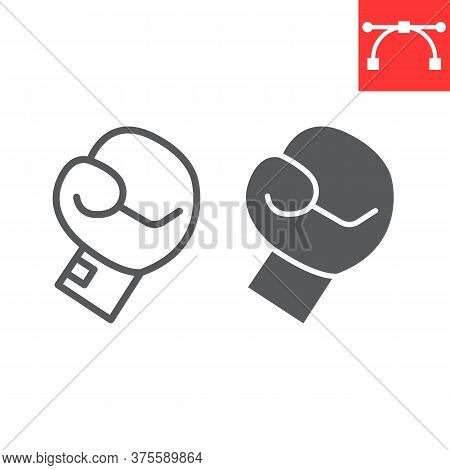 Boxing Glove Line And Glyph Icon, Fitness And Sport, Boxing Sign Vector Graphics, Editable Stroke Li