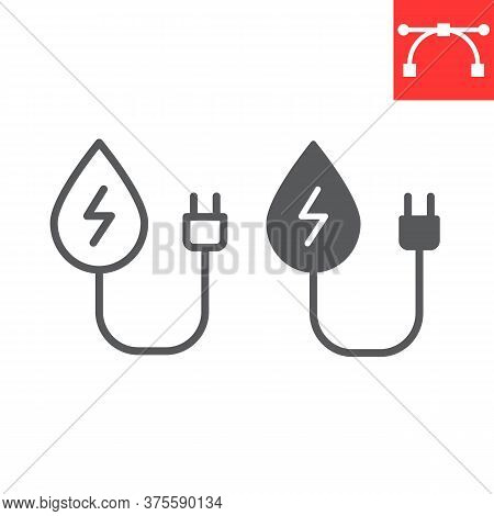 Hydropower Line And Glyph Icon, Energy And Ecology, Water Energy Sign Vector Graphics, Editable Stro