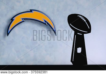 Los Angeles Chargers Professional American Football Club, Silhouette Of Nfl Trophy, Logo Of The Club