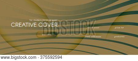 Camouflage Landing Page Design. 3d Flow Shapes Poster. Color Business Background. Brown Dynamic Temp
