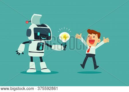 Robot Wit Artificial Intelligence Give Idea Bulb To Businessman. Artificial Intelligence Business Co