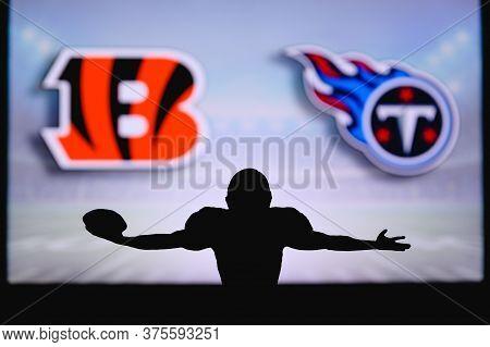 Cincinnati Bengals Vs. Tennessee Titans. Nfl Game. American Football League Match. Silhouette Of Pro