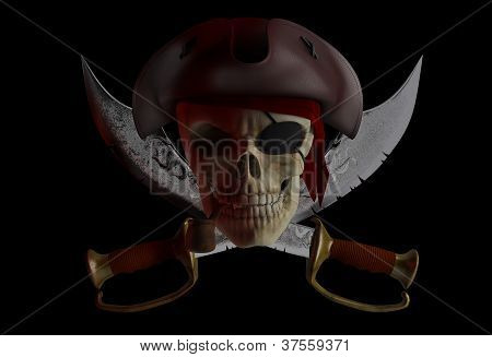 Skull pirate hat with crossed knives. Black background poster