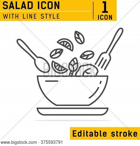 Food Dish Recipe, Nutrition Concept, Salad Ingredients Icon With Line Style. Salad Outline Icon