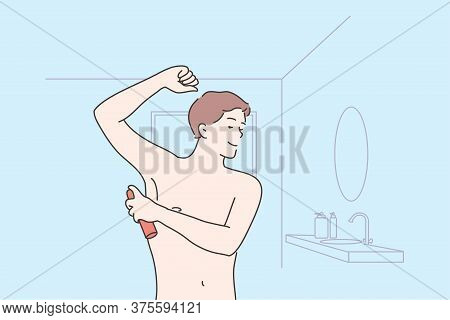 Health, Care, Smell Concept. Young Happy Man Or Guy Cartoon Character Applying Spray On Armpit For G