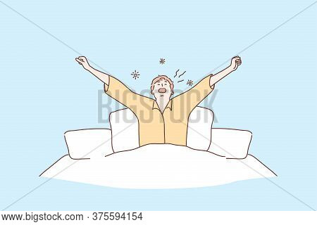Morning, Health, Care, Awakening, Relaxation Concept. Young Man Or Guy Cartoon Character Awaking In