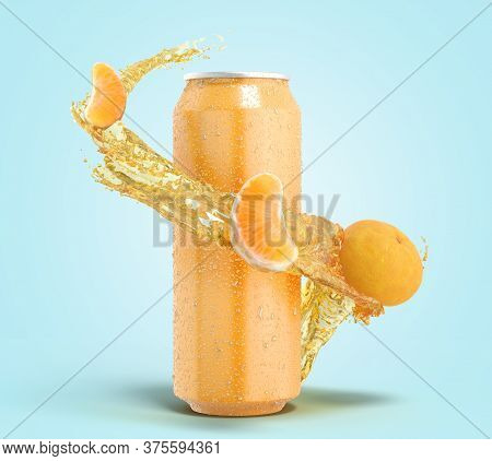 Tangerine Fruit Soda In An Iron Can Splash Of Water With Slices Of Fruit Around The Bottle 3dender O