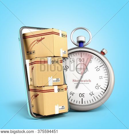 Fast Delivery Concept Boxes Peep Out Of The Screen Of A Mobile Phone Next To Them Is A Stopwatch 3d