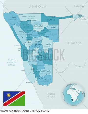 Blue-green Detailed Map Of Namibia Administrative Divisions With Country Flag And Location On The Gl