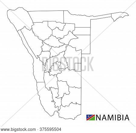 Namibia Map, Black And White Detailed Outline Regions Of The Country.