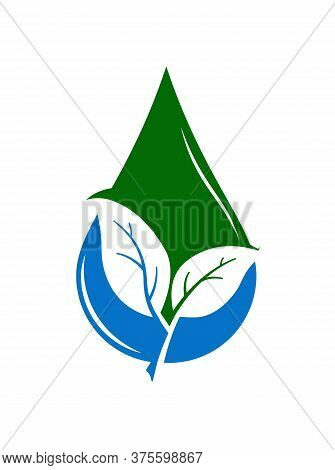 In A Drop Of Water, Two Leaves Of A Plant Are Cut Out, A Symbol Of Ecology. Logo, Logo, Or Sticker F