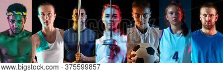 Portrait Of Athletes On Multicolored Background In Neon Light. Flyer, Collage. Concept Of Human Emot