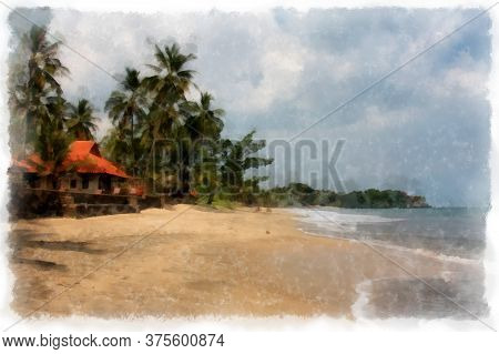 Bungalow On The Ocean On The Beach Background, Watercolor Drawing