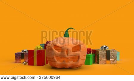 Pumpkin Jack O Lantern And Gift Box 3D Rendering.