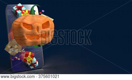 Pumpkin Jack O Lantern And Gift Box On Smartphone  3D Rendering.
