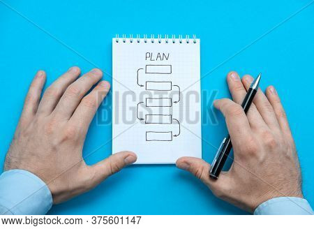 Notepad With A Step-by-step Action Plan And Pen Ready To Be Used. Male About To Write In Notebook. H