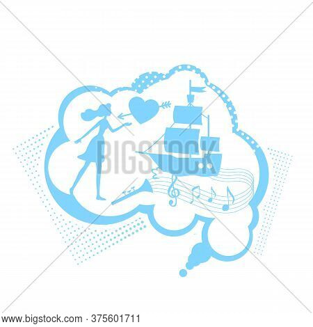 Thought Of Fairy Tale Flat Concept Vector Illustration. Daydreaming About Love And Travel. Think Of