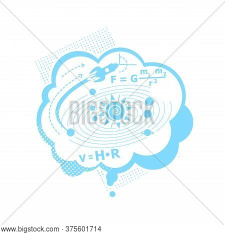 Thought Of Physics Problem Flat Concept Vector Illustration. Thinking Of Scientific Solution. Formul