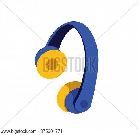 Headphones Flat Color Vector Object. Headset To Listen To Music. Operator Of Call Center Line. Wirel