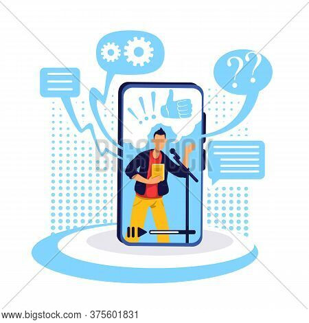 Podcast On Smartphone Flat Concept Vector Illustration. Conversational Show On Internet. Popular Con