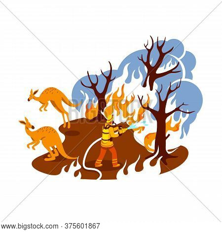 Save Burning Forest 2d Vector Web Banner, Poster. Fire In Jungle. Firefighter In Australian Woods Fl