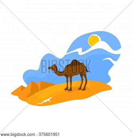 African Desert 2d Vector Web Banner, Poster. Camel Stand In Sand. Egyptian Wildlife. Climate Zone. A