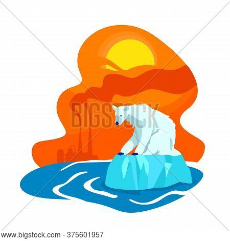 Climate Change 2d Vector Web Banner, Poster. Factory Emission. Polar Bear Extinction. Melting Of Nor
